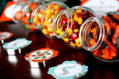 Fall themed candy at a Thanksgiving party! See more party planning ideas at CatchMyParty.com!