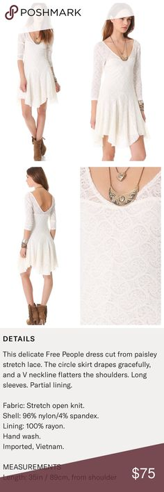 Free People Ivory Lace Katya Dress, Size Large This delicate Free People Dress is cut from paisley stretch lace. The circle skirt drapes gracefully and a V neckline flatters the shoulders. Long sleeves. Partial lining. Beautiful and perfectly stretchy! The color is alabaster. Free People Dresses