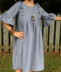 Everyday Chambray Ruffle Dress by damselsndragons on Etsy