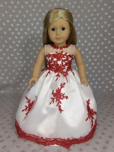 White and Red Dress Gown for American Girl Doll More