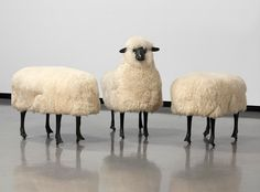 François-Xavier Lalanne  Moutons de Laine (Troupeau de 3) incl. one sheep and two ottomans, 1965/1974  stamped FXL  wool, bronze and wood on casters  sheep with head: 37 3 / 8 x 39 3 / 8 x 18 1 / 8 inches , 100 x 95 x 46 cm  ottomons: 23 5 / 8 x 31 1 / 2 x 18 1 / 8 inches, 60 x 80 x 46 cm
