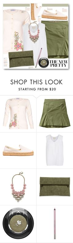 """""""Embroidered Cardigan & Skirt"""" by brendariley-1 ❤ liked on Polyvore featuring Moschino, Royal Robbins, Soludos, BaubleBar, LULUS, Lancôme and Urban Decay"""