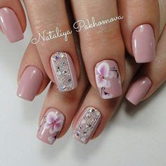 Love the flowers and. Color For Nails, Nail Colors, Classy Nails, Trendy Nails, Ongles Beiges, Diva Nails, Manicure Y Pedicure, Burgundy Nails, Flower Nail Art