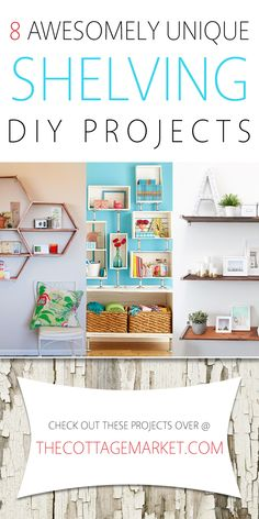 8 Awesomely Unique Shelving DIY Projects - The Cottage Market Cool Diy Projects, Home Projects, Home Crafts, Diy Home Decor, Unique Shelves, Home Hacks, Home Organization, Decoration, Diy Furniture