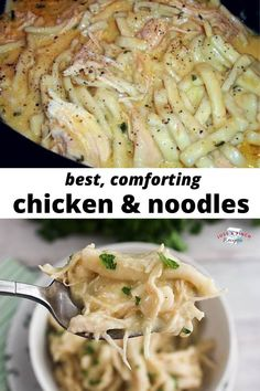 Crock Pot Chicken & Noodles - Crock Pot Comforting Chicken and Noodles is the easiest and BEST comfort food ever! Crockpot Recipes, Chicken Recipes, Cooking Recipes, Healthy Recipes, Homemade Chicken And Noodles, Chicken Noodles, Chicken And Noddles, Spaghetti Squash Recipes, Comfort Food