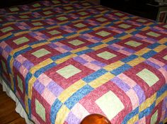Crayon Box Pattern Queen Quilt by madeinUSAbyLinda on Etsy