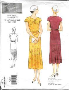Vogue Vintage Model Sewing Pattern 2671 1933 Style Dress & Belt  SZ 8-10-12  #VogueVintageModel #1933OriginalDesign