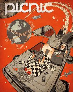 Una de las portadas finalistas de la Convocatoria Ilustracional 2012: Edición #49 tema Viajeros por Javier Medellín Puyou.