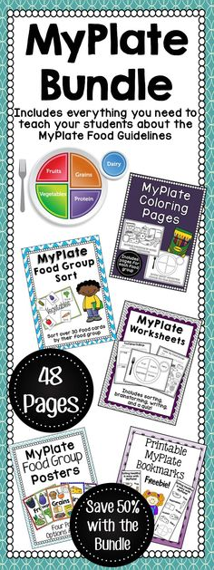 MyPlate Unit Bundle Set  This bundle is everything that you need to teach your class about the MyPlate food guidelines! Your students will love learning about MyPlate with a mixture of hands on activities, worksheets, and printable bookmarks!