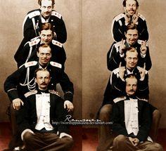 The Romanovs Pyramid: Prince Albert von Sachsen-Altenburg, Grand Duke Alexander (future Alexander III), Alexander's brother Vladimir, and Prince Nikolay of Leuchtenberg. The right part of the photo is amazing!
