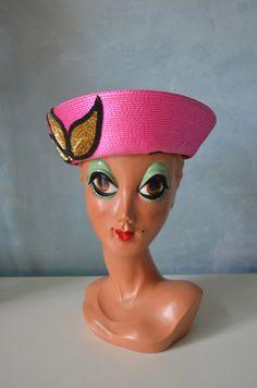 VALERIE MODES Vintage 50s Ladies Wide Straw Pink Cap HAT Sequins Design