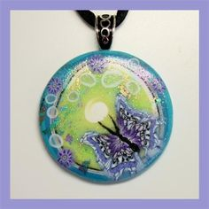 Polymer Clay Butterfly Pendant, via Flickr.