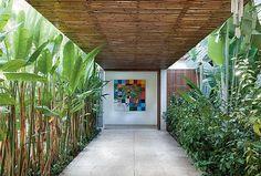 jardim tropical, com as plantas ixoras, helicônias e bananeiras