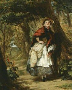 Dolly Varden, oil on board, 1842, illustration from Charles Dickens's Barnaby Rudge by William Powell Frith, British, 1819-1909.
