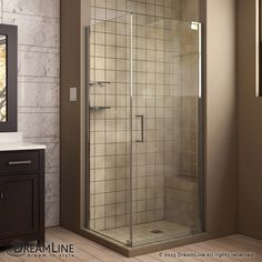 Elegance 30-inch W x 30-inch D x 72-inch H Semi-Frameless Pivot Shower Enclosure in Chrome #SteamShowerEnclosure