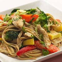 Peanut Noodles with Shredded Chicken and Vegetables