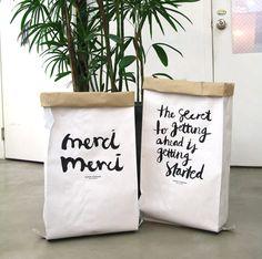 Kraft paper bag merci / Paper Storage Sack / by Twomysterybox