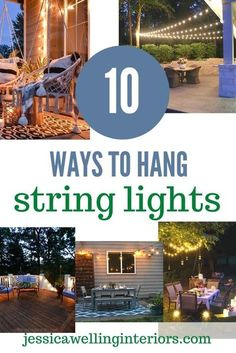 Hang string lights over your patio or deck with these simple step by step tutorials- whether you need to attach them to a building, make your own posts, or hang them from a tree, we've got you covered! Hanging Patio Lights, String Lights Outdoor, Backyard Lighting, Patio Lighting, Lighting Ideas, Outdoor Rooms, Outdoor Decor, Outdoor Ideas, Outdoor Stuff