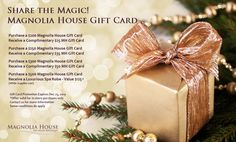 Christmas Shopping, Christmas And New Year, Gift Card Promotions, Magnolia House, House Gifts, Gift Card Giveaway, Free Gift Cards, Spa, Gift Wrapping