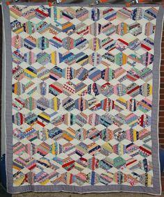 30's Hexagon Crazy Antique Quilt