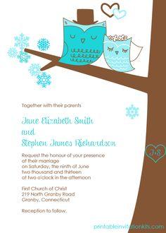 Winter Wedding Owls Invitation for Winter Weddings