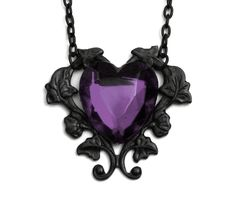Victorian Gothic Purple Heart Necklace by robinhoodcouture on Etsy