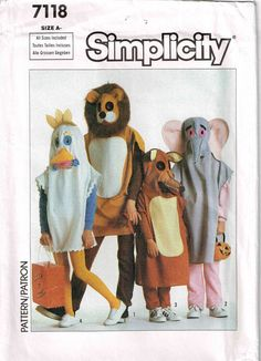 Child Pullover Animal Halloween Costume. Sew it yourself a Chicken, Lion, Elephant, or Fox Sewing Pattern Simplicity 7118 by PeoplePackages