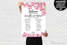 Floral Wedding Program Poster by Incredible Prints on @creativemarket