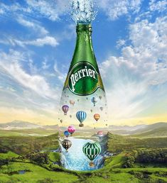 """Jeff Wack's illustration for the Perrier """"Extraordinaire"""" campaign bursts with refreshment. Ads Creative, Creative Posters, Creative Advertising, Advertising Design, Advert Design, Guerrilla Advertising, Guerrilla Marketing, Street Marketing, Advertising Campaign"""