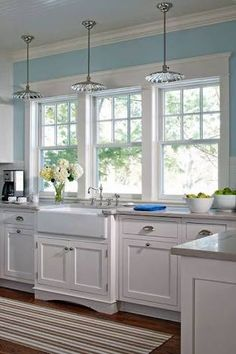 Love looking for great white kitchen decorating ideas? Check out these gallery of white kitchen ideas. Tag: White Kitchen Cabinets, Scandinavian, Small White Kitchen with Island, White Kitchen White Witchen Countertops White Kitchen Interior, White Kitchen Decor, Kitchen Cabinets Decor, Kitchen Redo, Interior Design Kitchen, Kitchen Windows, Kitchen Makeovers, Kitchen Colors, Kitchen Walls