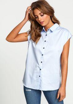 Blue Boxy Button Up Blouse - Love Culture