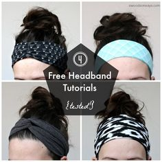 Sewing Tutorials I love headbands. I think they look cute with a ponytail, they hide if I haven't showered in days, they use up fabric scraps, and for whatever sensor - 4 Free Headband Tutorials and Sewing Patterns, tested and shared. Headband Pattern, Diy Headband, Knitted Headband, Fabric Headband Tutorial, Yoga Headband, Headband Styles, Sewing Headbands, Fabric Headbands, T Shirt Headbands