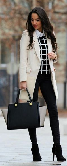 Women's Beige Coat, Black and White Check Crew-neck Sweater, White Embroidered Dress Shirt, Black Skinny Jeans