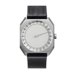 Slow-watches-Jo05 This unusual watch is finished in silver and perched on a trendy premium black leather strap.The Swiss Made Ronda Caliber 505.24H GMT movement uses only one hand to reflect the 24 hour time. In Stock - £190