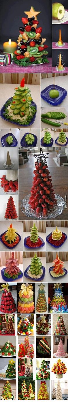 30 ways to make fruit Christmas trees / How To Instructions