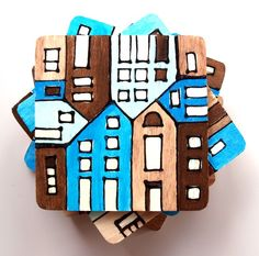 wood tile coasters hand painted blue brown by archcessoires, $30.00