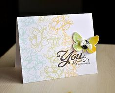 Maile Belles' beautiful card using Glossy Accents, Beautiful Butterflies, Pretty Peonies and Simply You.