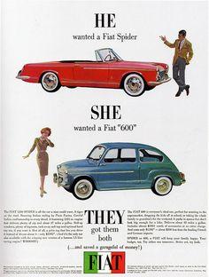 1960s Advertising - Magazine Ad - Fiat Spider & 600 (USA)