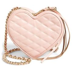 Women's Rebecca Minkoff Heart Crossbody Bag ($185) ❤ liked on Polyvore featuring bags, handbags, shoulder bags, purses, accessories, bolsa, pink, pink leather handbags, leather handbags and handbags shoulder bags