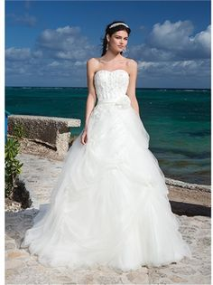 2015 Wedding Dresses Whtie Ball Gown Sweetheart Sashes Flower Zipper Lace Tulle Bridal Gowns