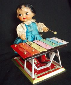 Wonderful WindUp Tin Toy Doll 1940's Vintage at BARNTIQUES