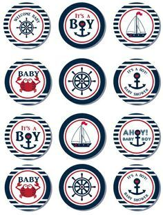 Nautical Baby Shower Cupcake Toppers,Favor Tags, Ahoy - Anchor - It's a Boy…