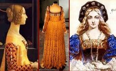 Center: Gown worn by Poland's Italian Queen Bona Sforza c.1521   I wonder if I can find other views of that gown... Lituania, Reina, Traje Histórico, Ropa Histórica, Vestidos Reales, Trajes De Época, Ropa De Época, Renacimiento Italiano