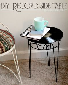 DIY record side table. This can go along with the upside down waste basket turned into a side table..