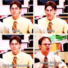 The Office rocks, especially now without Michael Scott. Jim is the best! Dundee, Dwight And Jim, The Office Show, Office Tv, Office Intro, Jm Barrie, Office Memes, Best Office Quotes, Jokes