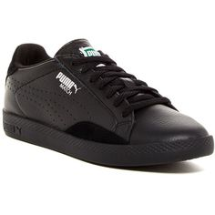 PUMA Match Lo Basics Sport Sneaker (€36) ❤ liked on Polyvore featuring shoes, sneakers, black, black trainers, sport sneakers, puma shoes, black suede shoes and puma trainers