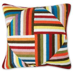 Jonathan Adler Multi Bargello Windmill Pattern Possible patchwork opportunity? In different shades of denim? Broderie Bargello, Bargello Needlepoint, Wool Embroidery, Crochet Cushions, Modern Throw Pillows, Jonathan Adler, Quilted Pillow, Rug Hooking, Decorative Throw Pillows