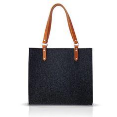 Felt Bag With Leather Handle - HIPPO BAG. $93.60, via Etsy.