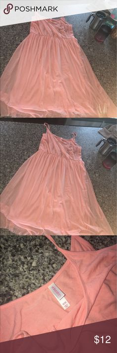 Peach large xhilaration dress worn once Size large xhilaration dress worn once like new peach color cotton material on top and sheer chiffon layer over cotton bottom, comfy and so cute!! Xhilaration Dresses Midi