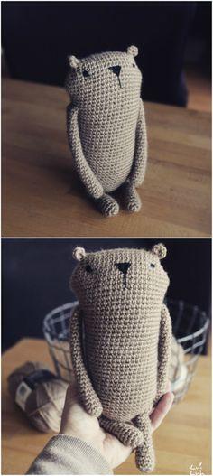 "Amigurumi crochet pattern "" Mr. Luiwood "" *big size* bear beaver. Crochet knoledge you need to crochet the Mr. Luiwood:Magic Ring, single crochet, chain stitch, slip stitch, increase, decrease. #affiliatelink"
